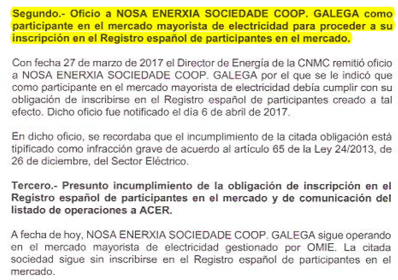Comunicación da sanción a Nosa Enerxía por parte da CNMC