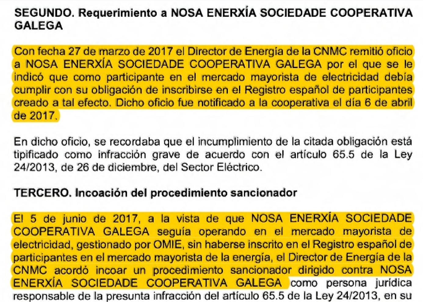 Comunicación da incoación do procedemento sancionador pola CNMC